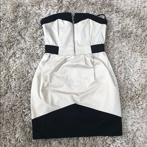 H&M colorblock strapless dress